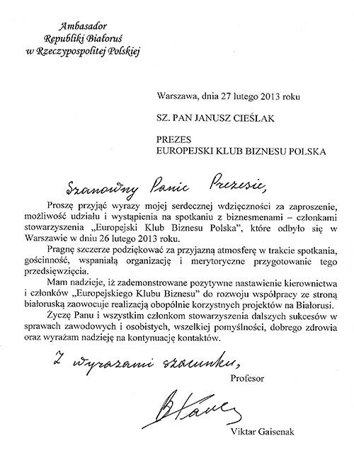 Podziękowanie Ambasadora Białorusi