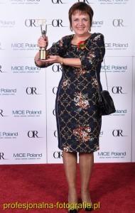 Żaneta Berus z Nagrodą  Osobowość Roku 2014 w kategorii Menadżer Obiektu.